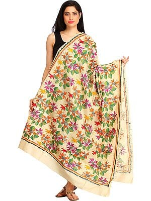 Almond-Oil Dupatta from Kolkata with Kantha Hand-Embroidered Sunflowers