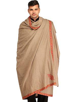 Simply-Taupe Plain Kashmiri Pashmina Dushala (Lohi) for Men with Sozni Hand-Embroidery on Border