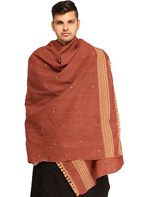 Men's Shawl from Kutch with Woven Border and Embroidered Mirrors