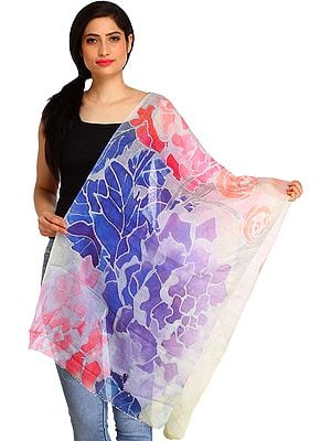 Multicolored Stole from Amritsar with Digital-Printed Roses