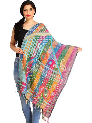Multicolored Jamawar Stole with Woven Motifs and Wool-Embroidery