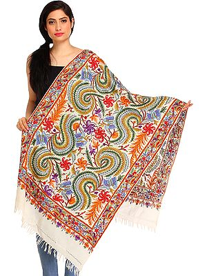 Ivory Kashmiri Stole with Ari Floral Hand-Embroidery and Butterflies