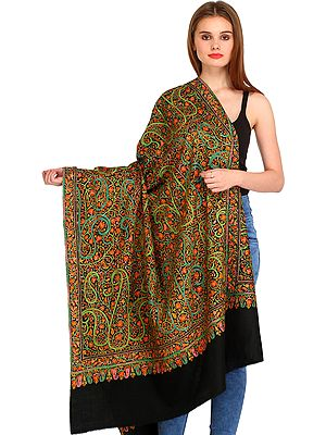 Phantom-Black Kashmiri Pure Pashmina Shawl with Papier Mache Hand-Embroidered Paisleys and Maple Leaves