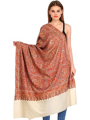 Off-White Kashmiri Pure Pashmina Shawl with Hand-Embroidered Forest of Paisleys