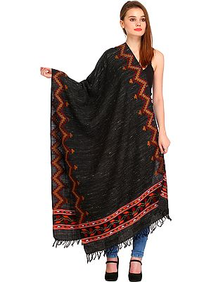 Black Stole from Kullu with Zigzag Kinnauri Woven Border