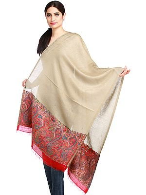 Light-Taupe Jamawar Stole with Self Weave and Woven Paisleys