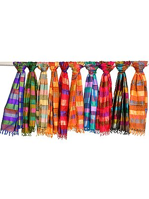 Multicolored Lot of Ten Banarasi Pure Silk Scarves with Tanchoi Weave and Stripes