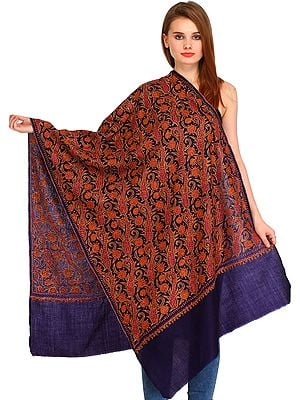 Dark-Blue Kashmiri Tusha Stole with Needle Hand-Embroidered Paisleys