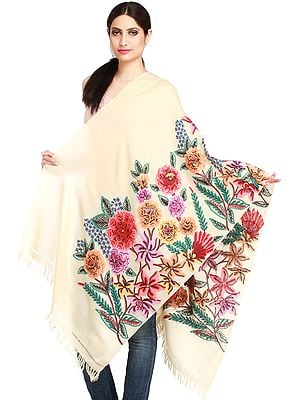 Kashmiri Stole with Ari-Hand Embroidered Giant Flowers