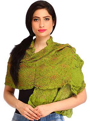 Bandhani Tie-Dye Crinkled Scarf from Gujarat