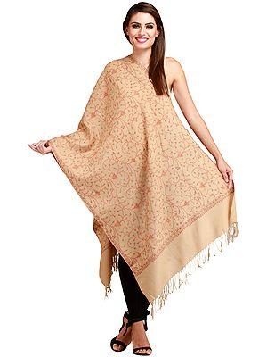 Warm-Sand Kashmiri Stole with Sozni Hand-Embroidery