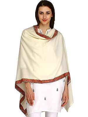 Plain Kashmiri Tusha Stole with Needle Hand-Embroidery on Border