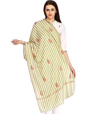 Striped Stole from Kashmir with Self-Weave and Needle Hand-Embroidered Paisleys