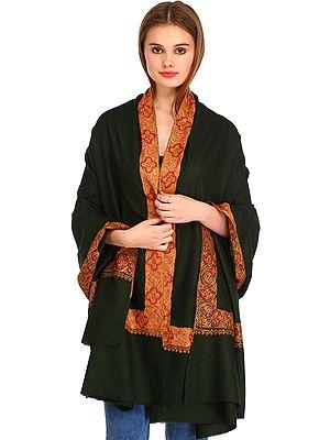 Dark-Green Plain Kashmiri Pure Pashmina Shawl with Needle Hand-Embroidery on Border