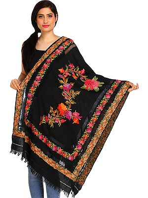 Jet-Black Ari Kashmiri Stole with Floral Hand-Embroidery and Cut-work on Border