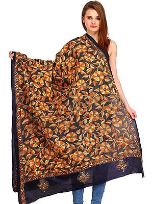 Midnight-Blue Kantha Dupatta from Kolkata with Embroidered Flowers by Hand