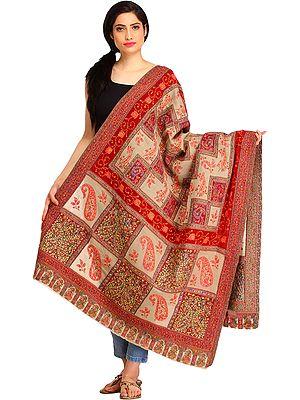 Oyster-Gray and Maroon Kani Shawl from Amritsar with Woven Paisleys and Kalamkari Needle Hand-Embroidery