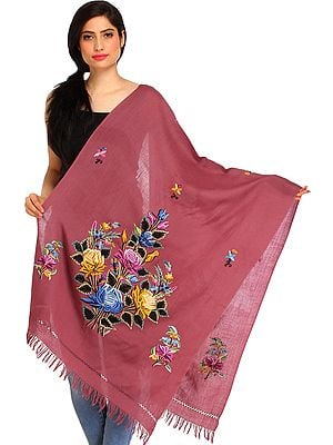 Heather-Rose Kashmiri Stole with Ari Floral-Embroidery by Hand