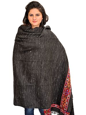 Black Shawl from Kullu with Thread Weave and Kinnauri Woven Border