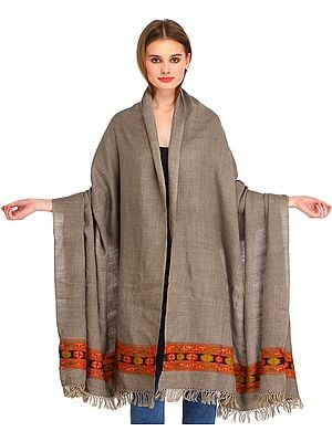Moon-Rock Plain Shawl from Kullu with Kinnauri Woven Border