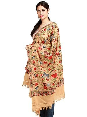 Honey-Peach Kashmiri Stole with Ari Hand-Embroidery