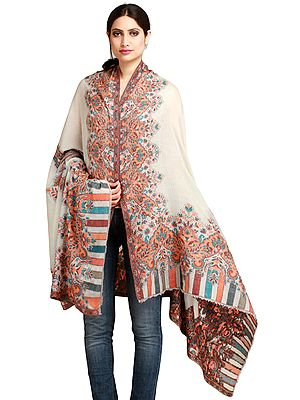 Vaporous-Gray Cashmere Kani Shawl from Amritsar with Floral-Weave on Border
