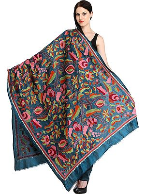 Ink-Blue Dupatta from Kolkata with Kantha Hand-Embroidered Tree