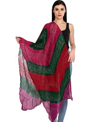 Multicolored Crinkled Bandhani Tie-Dye Stole