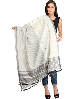Off-White Shawl from Kutch with Woven Stripes and Bootis