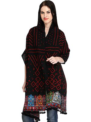 Jet-Black Bandhani Tie-Dye Stole from Kutch with Rabari-Embroidery on Border and Mirrors