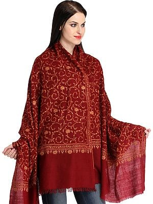Maroon Kashmiri Pure Pashmina Shawl with All-Over Sozni Hand-Embroidery