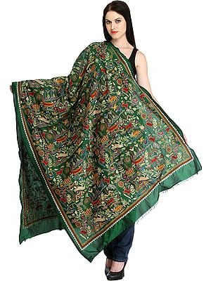 Foliage-Green Kantha Hand-Embroidered Dupatta from Kolkata with Depicting Forest