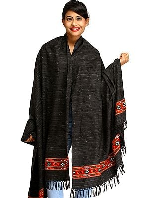 Black Shawl from Kullu with Kinnauri Woven Border