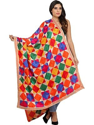 Hand-Embroidered Phulkari Dupatta from Punjab
