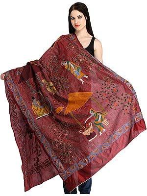 Rosewood Kantha Dupatta from Kolkata with Hand-Embroidered Folk Motifs