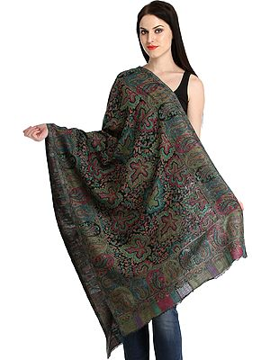 Kani Jamawar Stole with Woven Maple Leaves