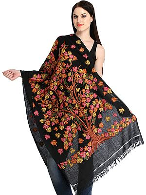 Caviar-Black Stole from Kashmir with Ari Hand-Embroidered Maple Tree