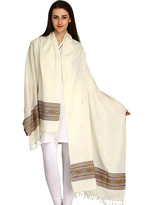 Ivory Palla Stole from Kullu with Kinnauri Woven Border