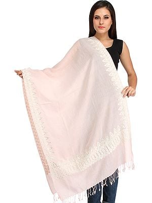 Plain Pastel Stole from Amritsar with Ari-Embroidery on Border and Crystals