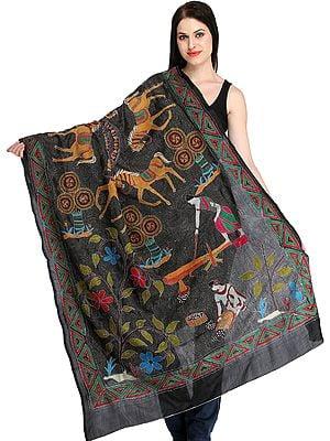 Jet-Black Kantha Hand-Embroidered Dupatta from Kolkata with Depicting Village Scene