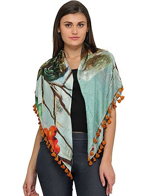 Glass-Blue Digital Printed Stole
