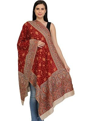 Kani Jamawar Stole with Needle Hand-Embroidery