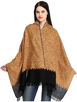 Beige and Black Ari Hand-Embroidered Stole from Kashmir