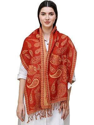 Reversible Jamawar Scarf from Amritsar with Woven Paisleys