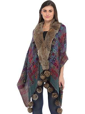 Multicolored Jamawar Wrap with Faux-Fur Collar