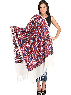 Ivory Stole from Kashmir with Ari-Embroidery in Multicolor Thread