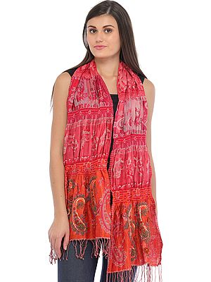 Pink and Orange Jamawar Scarf with Embroidered-Beads and Sequins