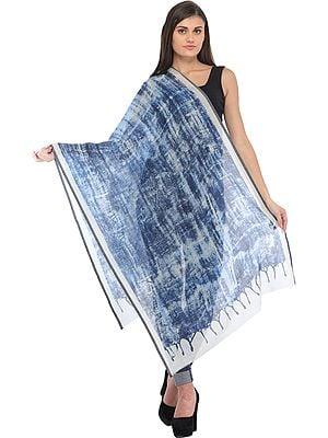 Blue Batik Stole with Digital-Print