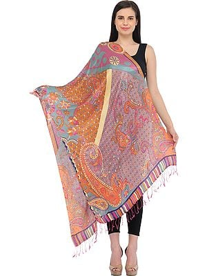 Multicolored Digital-Printed Stole with Paisleys