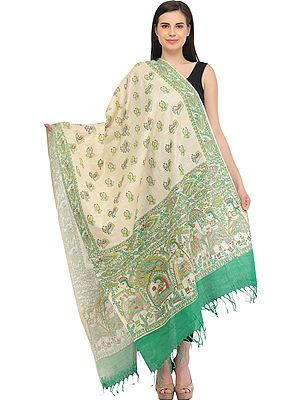 Cream and Green Dupatta from Bengal with Printed Madhubani Marriage Procession